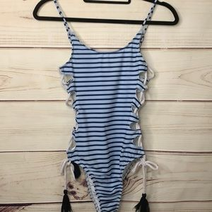 RUNAWAY Blue Striped Side Criss Crossed One Piece